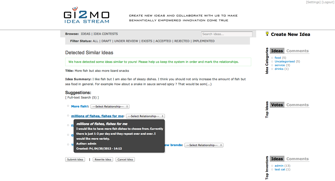 gi2mo project homepage ideastream similarity