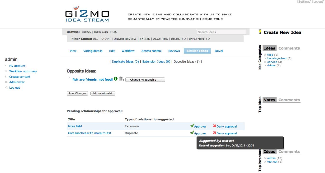 GI2MO Project Homepage » IdeaStream Similarity: open-source idea